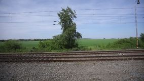 Czech countryside and nature alongside the main train corridor in Czech republic stock video footage