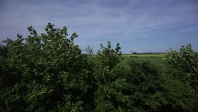 Czech countryside and nature alongside the main train corridor in Czech republic stock footage