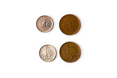 Czech crown coin, CZK. 1, 10 Czech crown coin, CZK coins denominations one and ten koruna, heads and tails. Symbol of Czech currency to wealth and investment Stock Photo