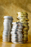 Czech crown CZK in a pile. Czech crowns CZK in a pile - coins Royalty Free Stock Photo