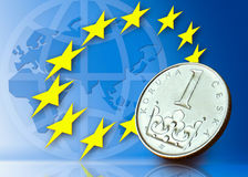 Czech crown and sign of European Union. Czech crown coin and sign of European Union with globe and map of the world Stock Photos
