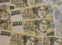 Czech Crowns Currency. Banknotes of the Czech Republic (European Union Royalty Free Stock Photography