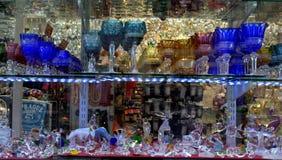 Czech crystal glasses. Czech crystal things on shop window,Karlovy Vary,Czech republic Stock Photo