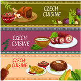 Czech cuisine banner set for food theme design Royalty Free Stock Images
