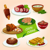 Czech cuisine comfort dishes for dinner design. Czech cuisine roast pork knee sign served with stuffed carp, pickled sausage, fried cheese, beef roll, soup in Royalty Free Stock Photography