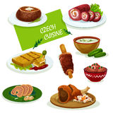 Czech cuisine dinner dishes cartoon menu design. Czech cuisine traditional pork knee icon served with sauerkraut and pickled sausage, fried cheese, stuffed carp Stock Image