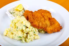 Czech cuisine - schnitzel. With cabbage and lemon royalty free stock photo