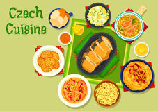 Czech cuisine traditional dishes icon design Royalty Free Stock Image