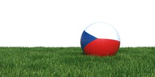 Czech Czechian flag soccer ball lying in grass world cup 2018. Isolated on white background. 3D Rendering, Illustration Royalty Free Stock Photo