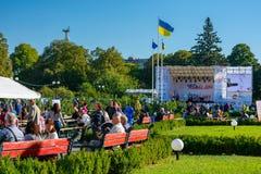 Czech days in TransCarpathia festival. Uzhgorod, Ukraine - SEP 28, 2018: Czech days in TransCarpathia festival. 100 year celebration of Czechoslovakia royalty free stock images