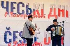 Czech days in TransCarpathia festival. Uzhgorod, Ukraine - SEP 29, 2018: Czech days in TransCarpathia festival. 100 year of Czechoslovakia celebration. folk stock image