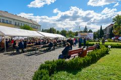 Czech days in TransCarpathia festival. Uzhgorod, Ukraine - SEP 29, 2018: Czech days in TransCarpathia festival. 100 year of Czechoslovakia celebration. people royalty free stock photos