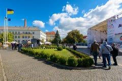 Czech days in TransCarpathia festival. Uzhgorod, Ukraine - SEP 29, 2018: Czech days in TransCarpathia festival. 100 year of Czechoslovakia celebration. people stock photos
