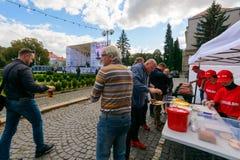 Czech days in TransCarpathia festival. Uzhgorod, Ukraine - SEP 29, 2018: Czech days in TransCarpathia festival. 100 year of Czechoslovakia celebration. people royalty free stock photo