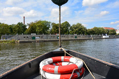 Lifebuoy, by boat. Vltava boat trip, blue sky and lifebuoy Stock Image