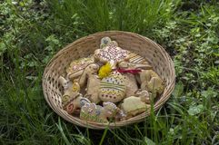 Czech easter gingerbread in wicker basket in the garden brown wooden stump, comical bunnies. Easter holidays Stock Photo