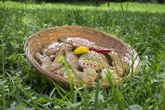 Czech easter gingerbread in wicker basket in the garden with yellow flowering dandelions flowers stock images