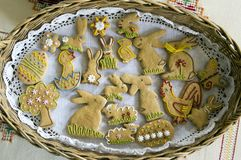 Czech easter gingerbread in wicker basket on tablecloth, comical easter animals. Holidays Royalty Free Stock Photography