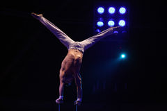 Czech equilibrist performs in the Humberto Circus. Royalty Free Stock Images