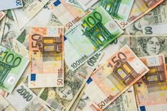 Czech and Euro banknotes background Stock Photo