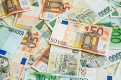 Czech and Euro banknotes background Stock Photography