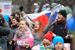 Czech fans during olympic games Royalty Free Stock Images