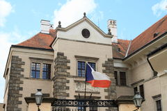 Czech flag in Castle in Telc Stock Photo