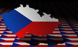 Czech flag with a contour of borders Stock Image