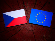 Czech flag with EU flag on a tree stump isolated Stock Photography