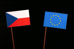 Czech flag with European Union EU flag isolated on black. Background Stock Photo