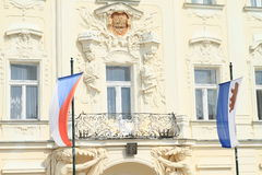 Czech flag and flag of city Benesov Royalty Free Stock Photos