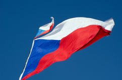 Czech flag. Czech flag fluttering in the wind royalty free stock image