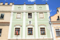 Czech flag on green renaissance house in Telc Stock Photos