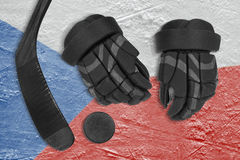 Czech flag, hockey puck, stick and gloves Stock Image