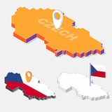 Czech flag on map element with 3D isometric shape isolated on background Royalty Free Stock Image