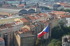 Czech flag with Prague main railway station Royalty Free Stock Images