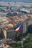 Czech flag with Prague main railway station Stock Image