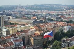 Czech flag with Prague main railway station Stock Images
