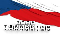 Czech flag and text stop terrorism. Stock Photo