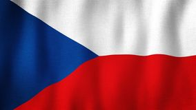 Czech flag waving in the wind. Closeup of realistic flag with highly detailed fabric texture