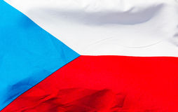 Czech flag in wind  close up Stock Photos
