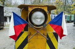 Czech flags on old train royalty free stock photography