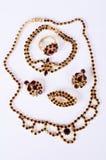 Czech garnets jewelry set. Czech garnets antique  jewelry set Stock Image