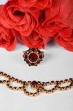 Czech garnets jewelry set. Antique czech garnets jewelry set stock images