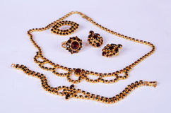 Czech garnets jewelry set. Antique czech garnets jewelry set royalty free stock photo