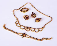Czech garnets jewelry set. Antique czech garnets jewelry set royalty free stock photos