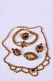 Czech garnets jewelry set. Beautiful antique czech garnets jewelry set stock photography