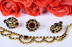 Czech garnets jewelry set. With roses Stock Photo