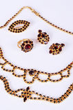 Czech garnets jewelry set. On the white background stock images