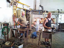 Czech glassmakers working Stock Photos